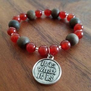 Carnelian & wood beads bracelet